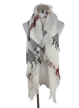 Burberry Neutral, Red, Black Plaid Merino Wool Scarf with Fringe Trim 1