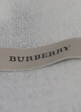 Burberry Neutral, Red, Black Plaid Merino Wool Scarf with Fringe Trim 2