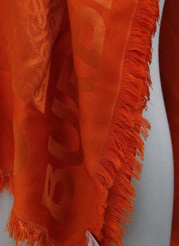 Burberry Orange Silk Wool Scarf 2