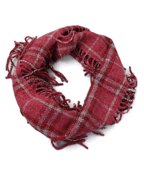 Burberry Pink Plaid Wool Fringe Scarf 1
