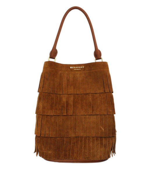 Burberry Porsum Brown Suede Fringe Bucket Bag 1
