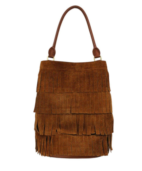 Burberry Porsum Brown Suede Fringe Bucket Bag 3