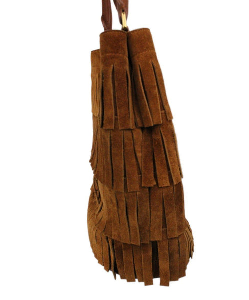 Burberry Porsum Brown Suede Fringe Bucket Bag 2