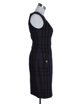 Burberry Size 4 Purple Black Plaid Wool Dress 2