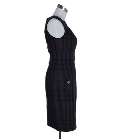 Burberry Size 4 Purple Black Plaid Wool Dress 1