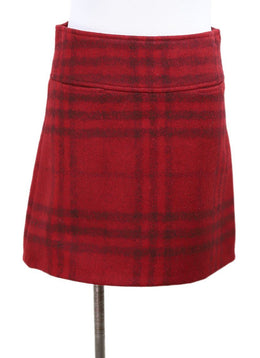 Burberry Red Black Plaid Wool Mini Skirt 1