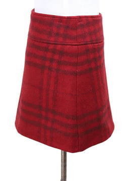 Burberry Red Black Plaid Wool Mini Skirt 2