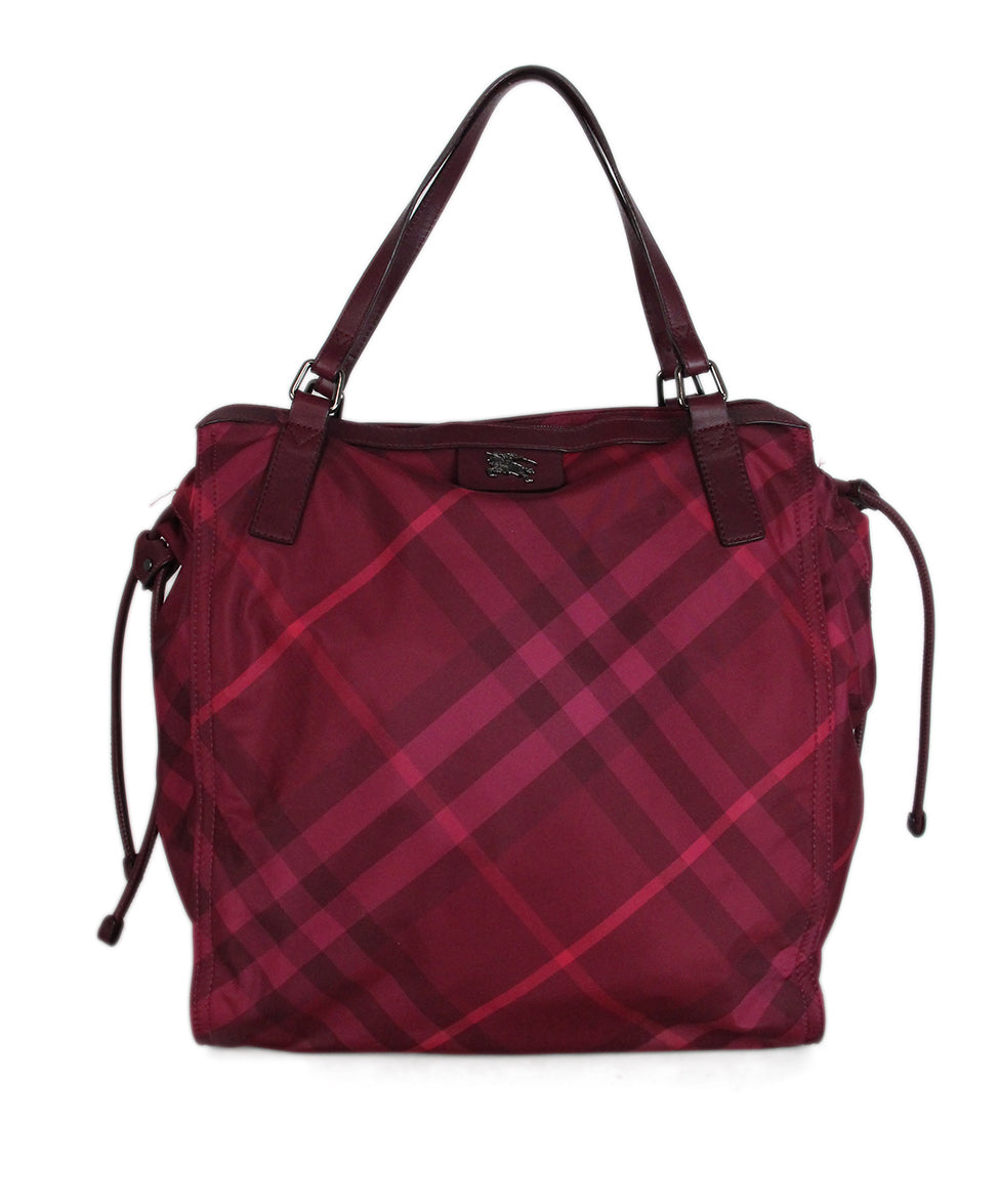 Burberry Red Raspberry Leather Nylon tote 1