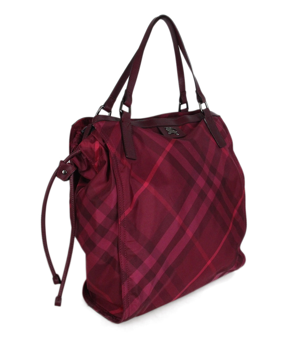 Burberry Red Raspberry Leather Nylon tote 2