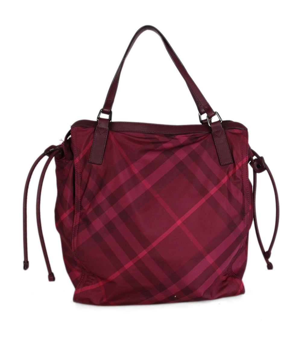 Burberry Red Raspberry Leather Nylon tote 3
