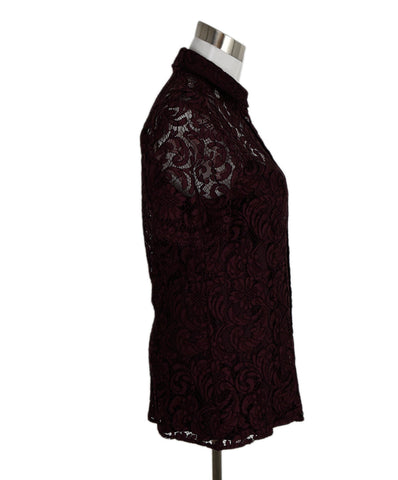 Burberry Burgundy Lace Top 1