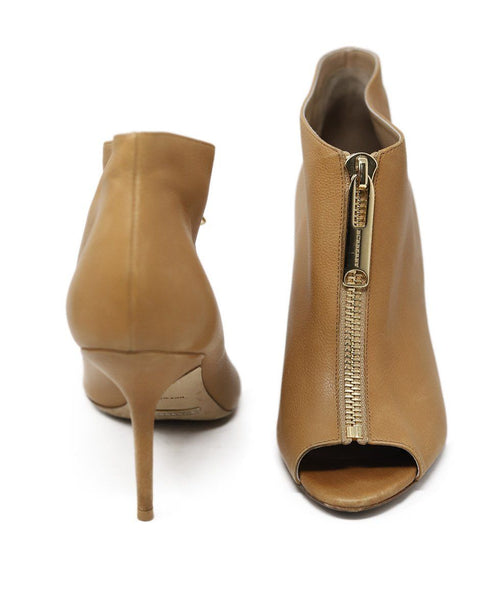 Heels Burberry Shoe Size US 7 Neutral Tan Leather Zipper Peep Toe Shoes