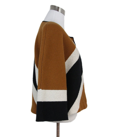 Burberry Tan Wool Black Stripes Cashmere Jacket 1
