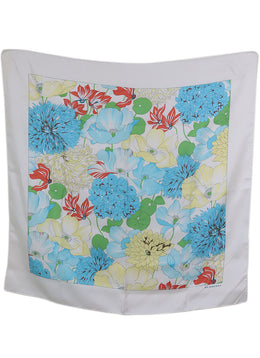 Burberry White Blue Yellow Green Silk Floral Scarf