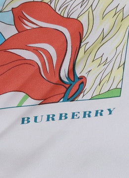Burberry White Blue Yellow Green Silk Floral Scarf 1