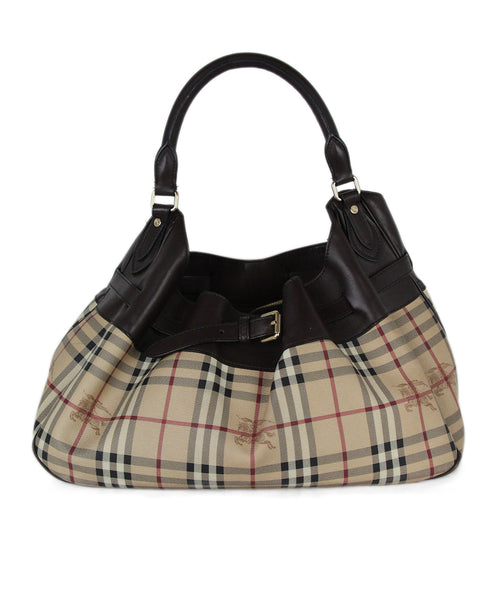 Burberry beige plaid canvas plaid leather shoulder bag 1