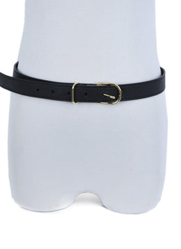 Burberry Black Leather Gold Hardware Thin Belt 2