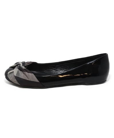 Burberry black patent leather plaid trim flats 1