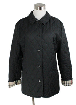 Burberry Black Quilted Nylon Plaid Lining Jacket 1