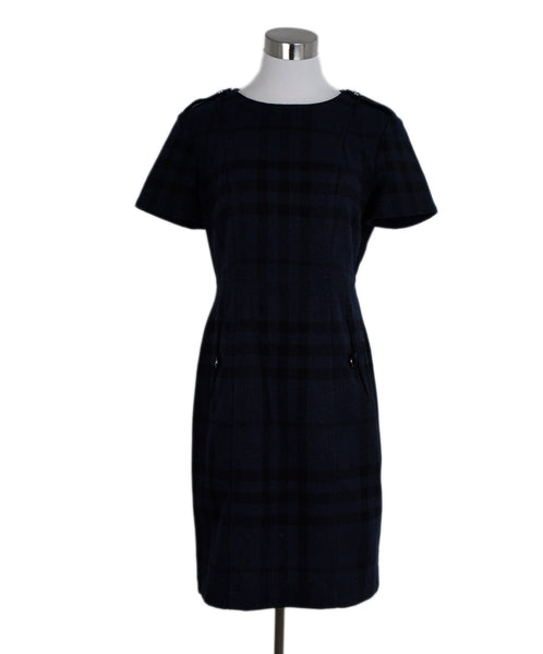 Burberry Navy Black Wool Nylon Dress 1
