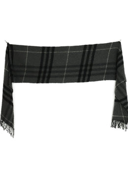 Burberry Grey Charcoal Black Plaid Wool Cashmere Scarf 2