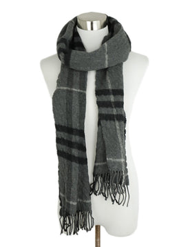Burberry Grey Charcoal Black Plaid Wool Cashmere Scarf 1