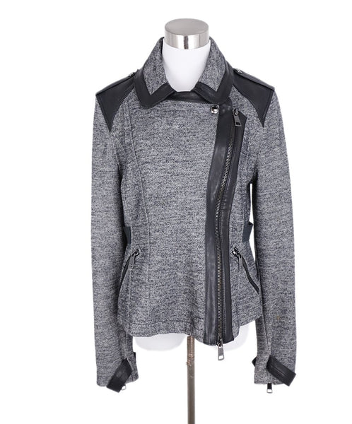 Burberry Grey Wool Black Leather Trim Jacket 1