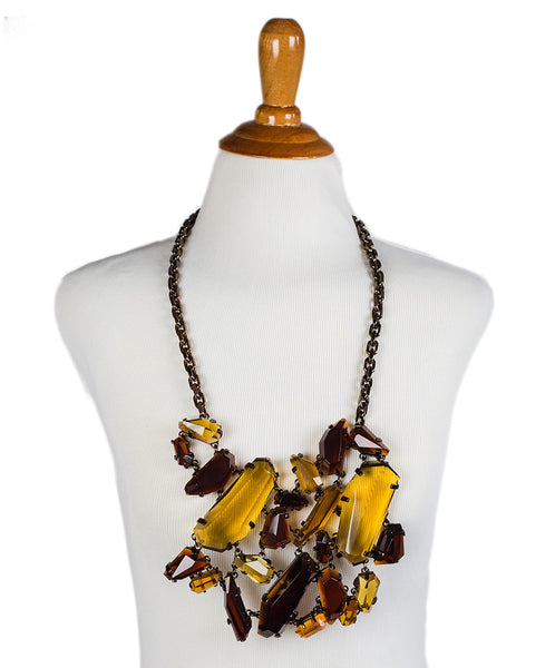 Burberry Yellow Amber Stone Bronze Chain Cluster Necklace - Michael's Consignment NYC  - 1