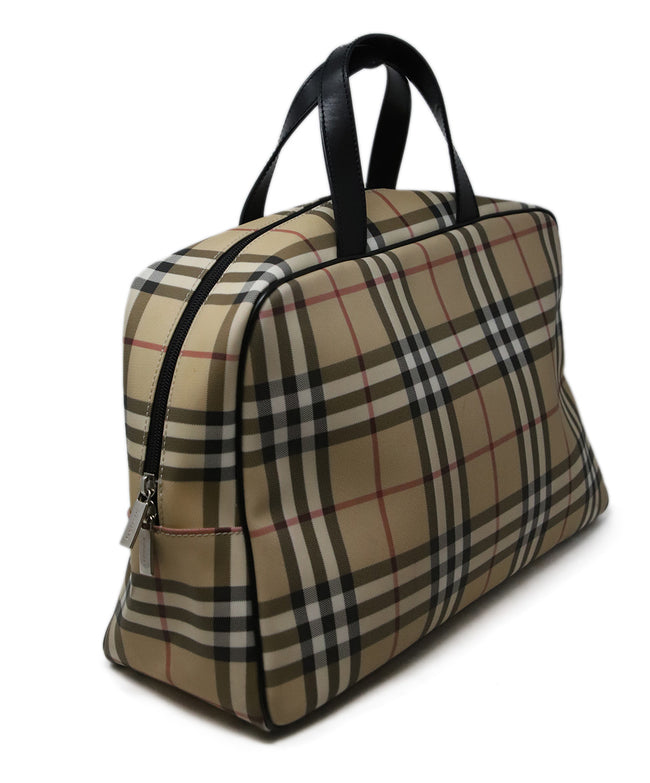 Burberry Neutral Plaid Canvas Bowler Bag 2