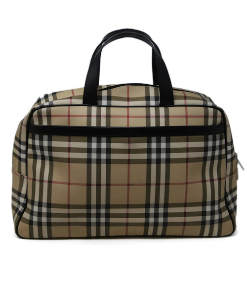 Burberry Neutral Plaid Canvas Bowler Bag 1