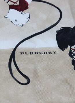 Burberry Tan Black Burgundy Silk Pocket Square 1