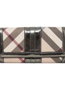 "Wallet Burberry Neutral Tan Burgundy Canvas W/Dust Bag ""as is"" Leather Goods 1"