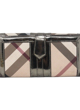 "Wallet Burberry Neutral Tan Burgundy Canvas W/Dust Bag ""as is"" Leather Goods 2"
