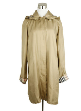 Burberry Tan Silk Polyurethane Trenchcoat 1