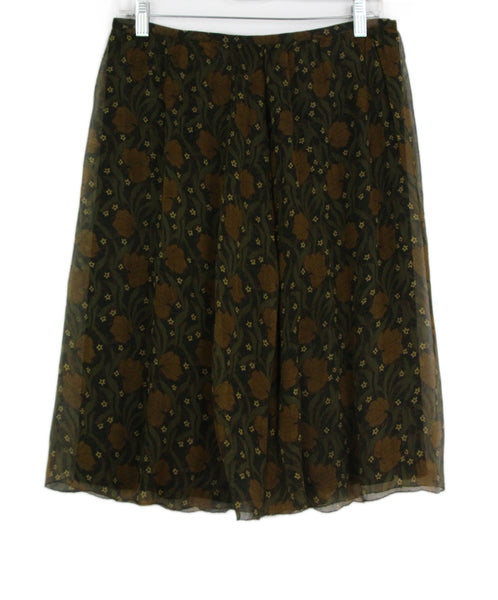 Burberry olive brown floral print skirt 1