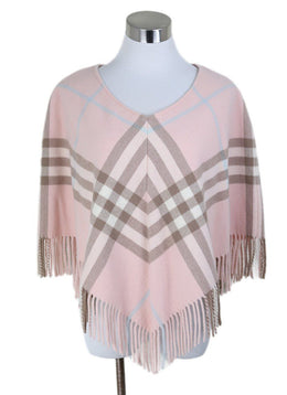 Burberry Pink Plaid Merino Wool Poncho 1