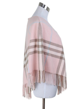 Burberry Pink Plaid Merino Wool Poncho 2