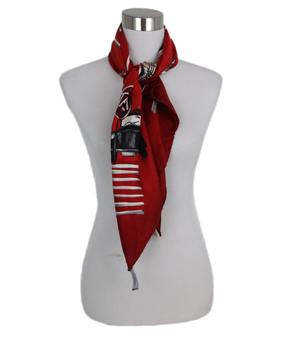 Burberry Red Blk/Wht Silk Scarf 3