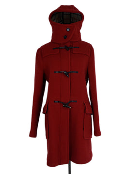 Coat Burberry Size 10 Red Wool Outerwear 1
