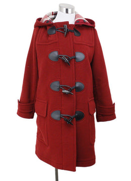 Burberry Red Wool Plaid Lining Coat Sz 6