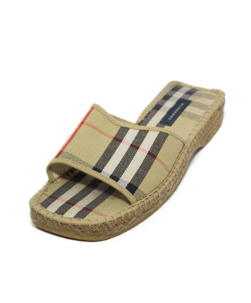 Burberry Tan Black Red Canvas Sandals 1