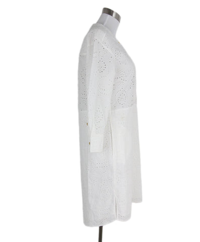 Burberry white cotton eyelet dress 1