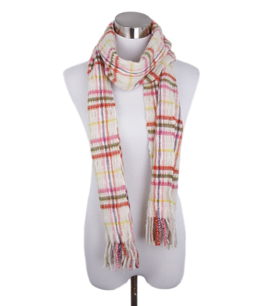 Burberry White Green Cashmere Pink Wool Scarf 1