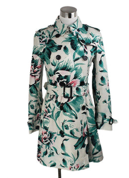 Trenchcoat Burberry White Green Red Floral Cotton W/Belt Outerwear 1