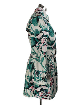 Trenchcoat Burberry White Green Red Floral Cotton W/Belt Outerwear 2