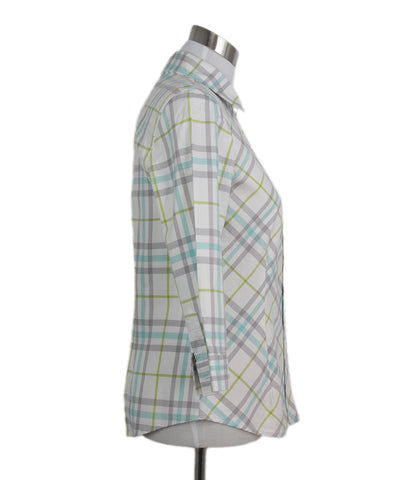 Burberry white lavender plaid cotton shirt 1