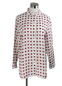 Burberry White Red Linen Hearts Top 1