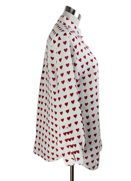 Burberry White Red Linen Hearts Top 2
