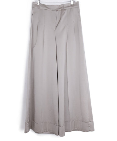 Brunello Cucinelli Metallic Champagne Viscose Wide Leg Pants 1