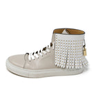 Buscemi Taupe Leather White Fringe Sneakers 2
